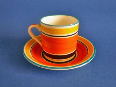 Susie Cooper Gray's Pottery Banded Pattern 7670 Coffee Can and Saucer c1928 #2 (Sold)